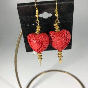 Delicate Carved Cinnabar Drop Heart Earrings